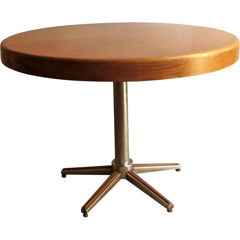 Vintage round coffee table in oak and top in chrome and metal,1970