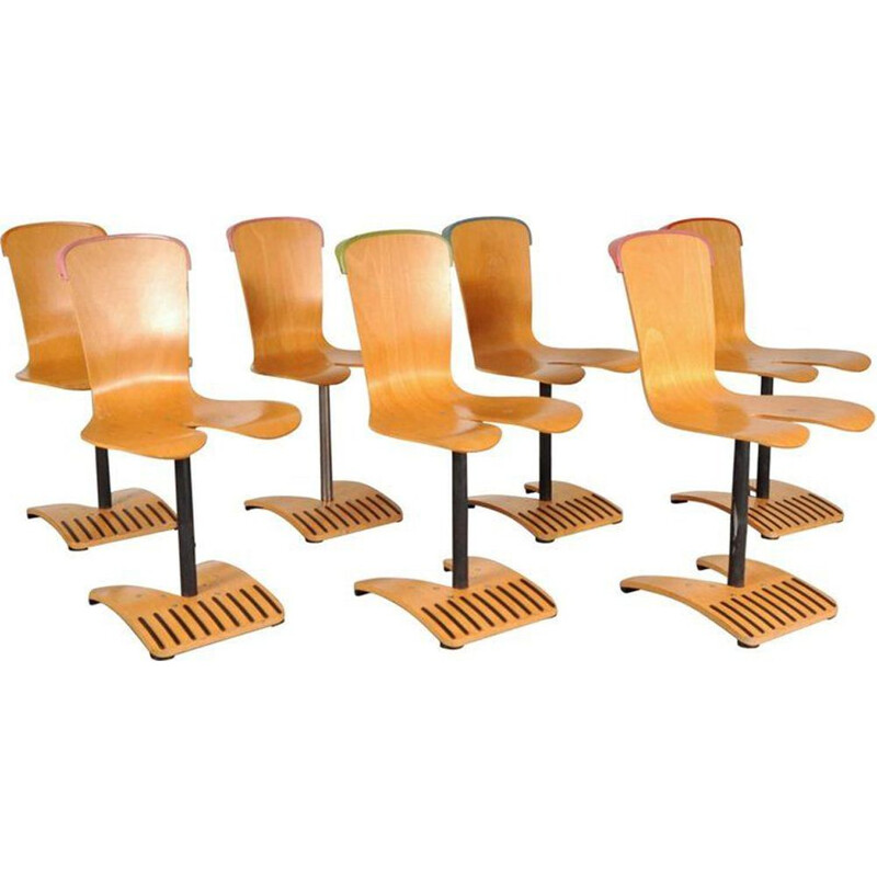 Set of 7 vintage chairs by Ruud Jan Kokke