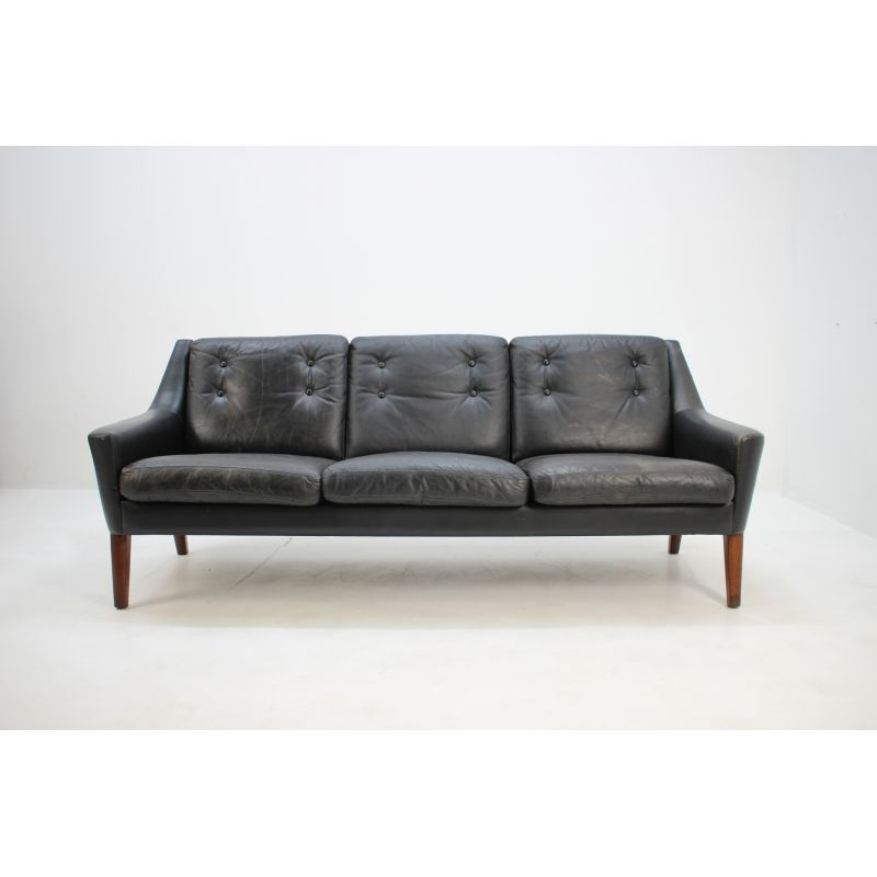 Outstanding Vintage Scandinavian Sofa In Black Leather And Wood 1960 Gmtry Best Dining Table And Chair Ideas Images Gmtryco