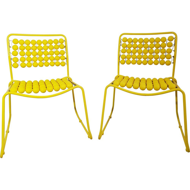 Pair of vintage yellow chairs in steel and plastic 1980
