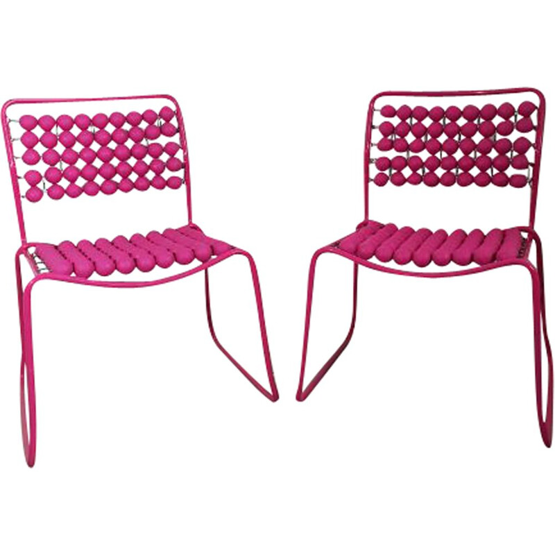 Pair of vintage pink chairs in steel and plastic 1980