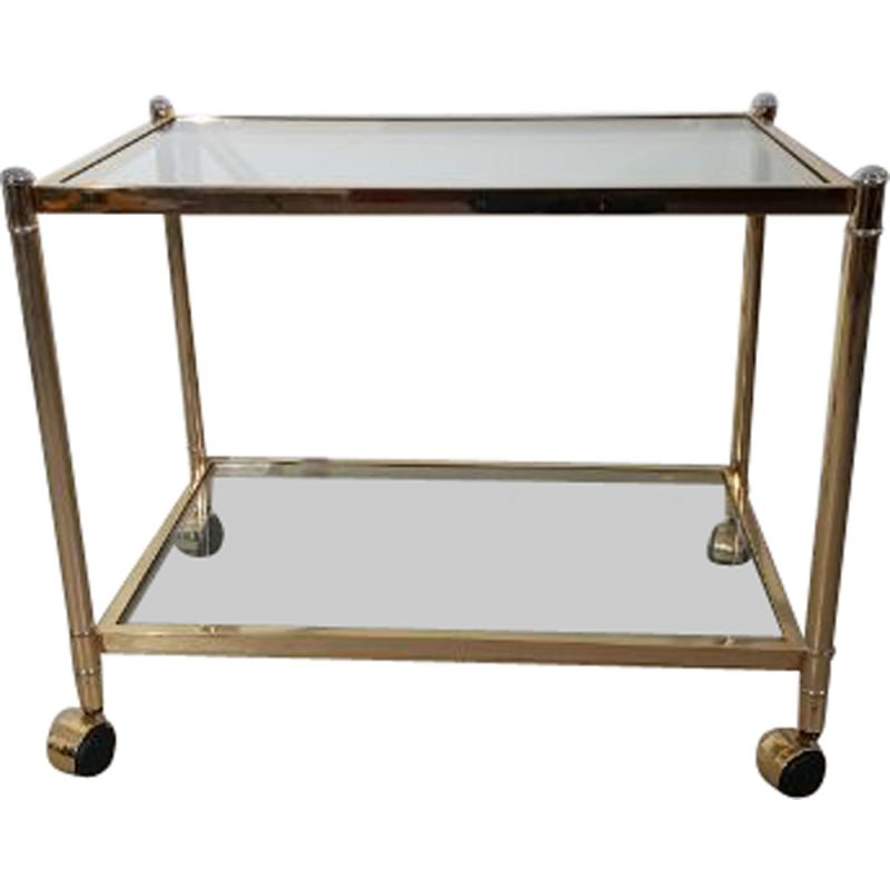 Vintage serving double trays cart in glass and brass 1990