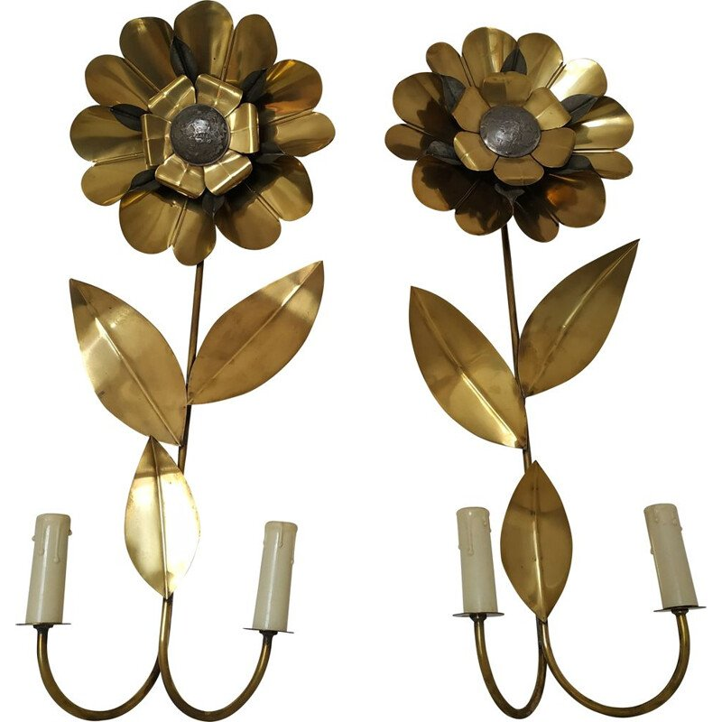 Pair of vintage flower sconces in brass 1970