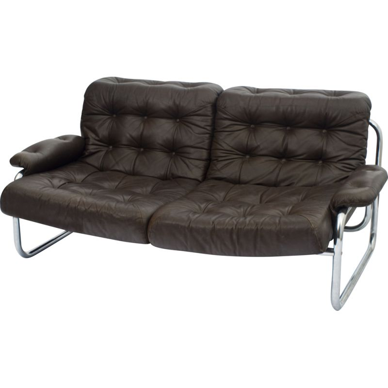Excellent Vintage Sofa For Ikea In Brown Leather And Chrome 1970 Andrewgaddart Wooden Chair Designs For Living Room Andrewgaddartcom