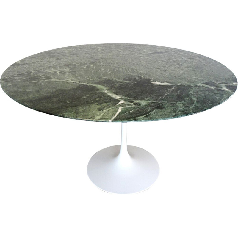 Vintage Tulip table for Knoll in green marble and white metal