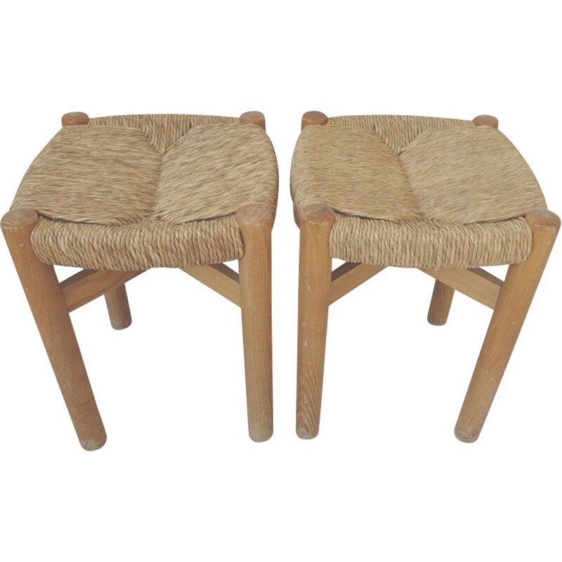 Pair of vintage Meribel stools by Perriand in wood and rope 1960
