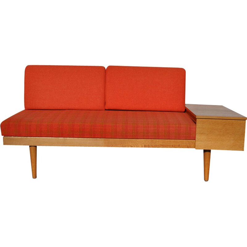Vintage orange sofa for Swane in wood and brass 1960