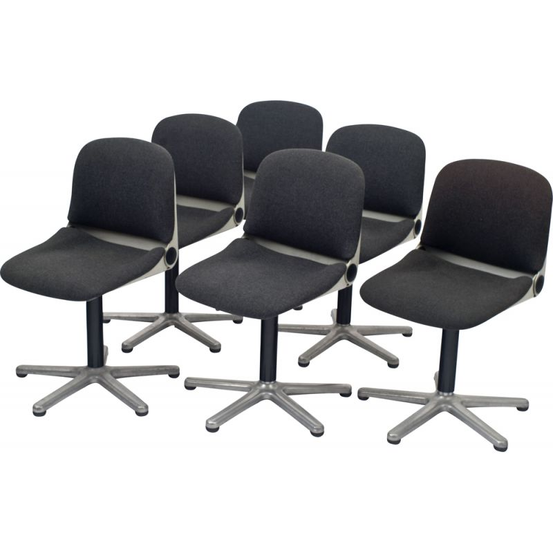 Set of 6 vintage german model 232 chairs for Wilkhahn in plastic and black fabric
