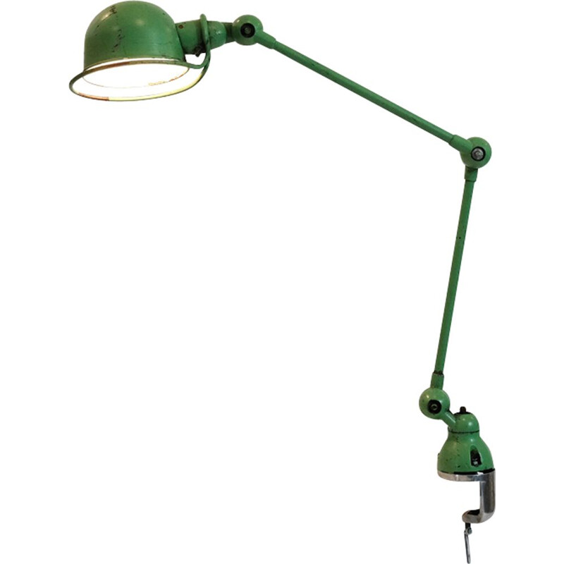 Vintage lamp Jieldé two arms green Jean-Louis Domecq, 1950-1970
