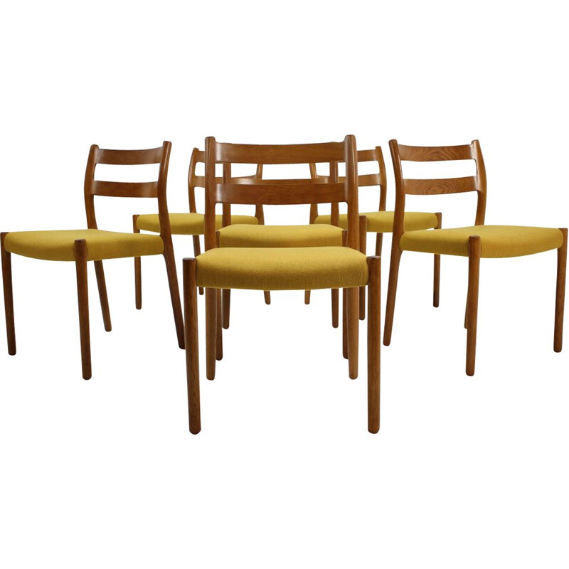 Set of 6 vintage dining chairs in oak n 84 by N.O. Møller 1960