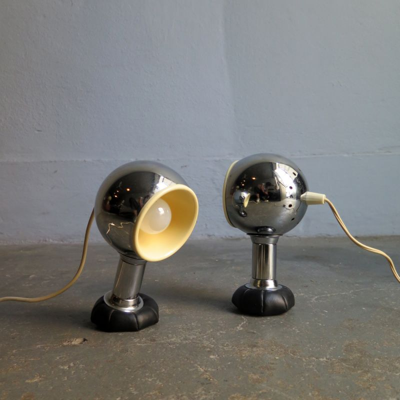 Pair of vintage chrome adjustable lamps with bean bag base