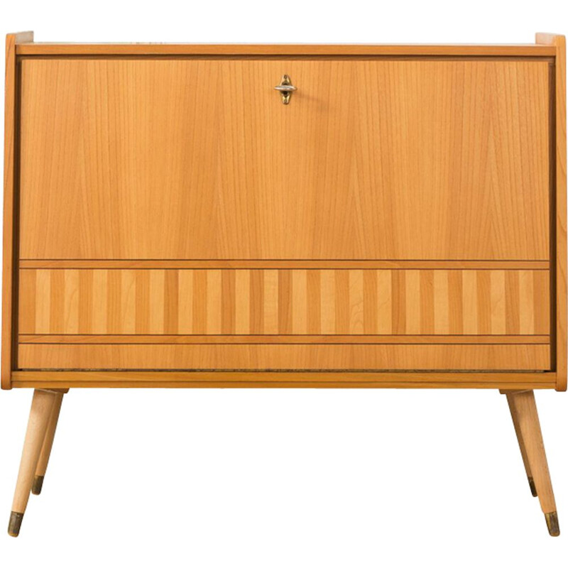 German cabinet in beechwood and brass