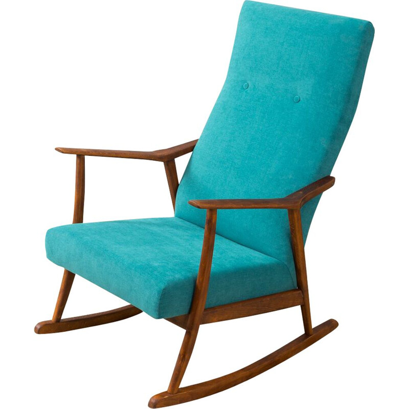 Vintage rocking chair in beech petrol fabric Germany 1950s