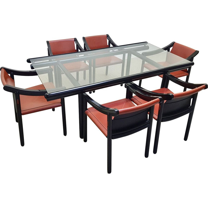 Vintage dining set Cassina 905 chairs and Vico Magistretti table