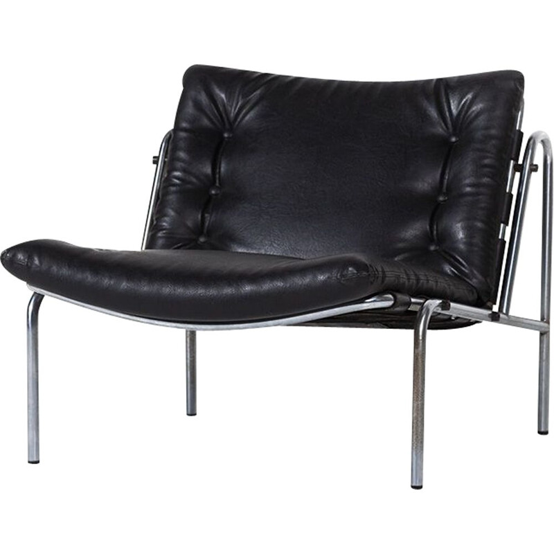 Vintage SZ07 Nagoya armchair for 't Spectrum in black leather and metal 1960
