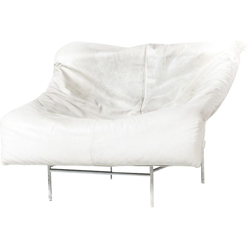 Vintage Butterfly armchair for Montis in white leather and metal 1980