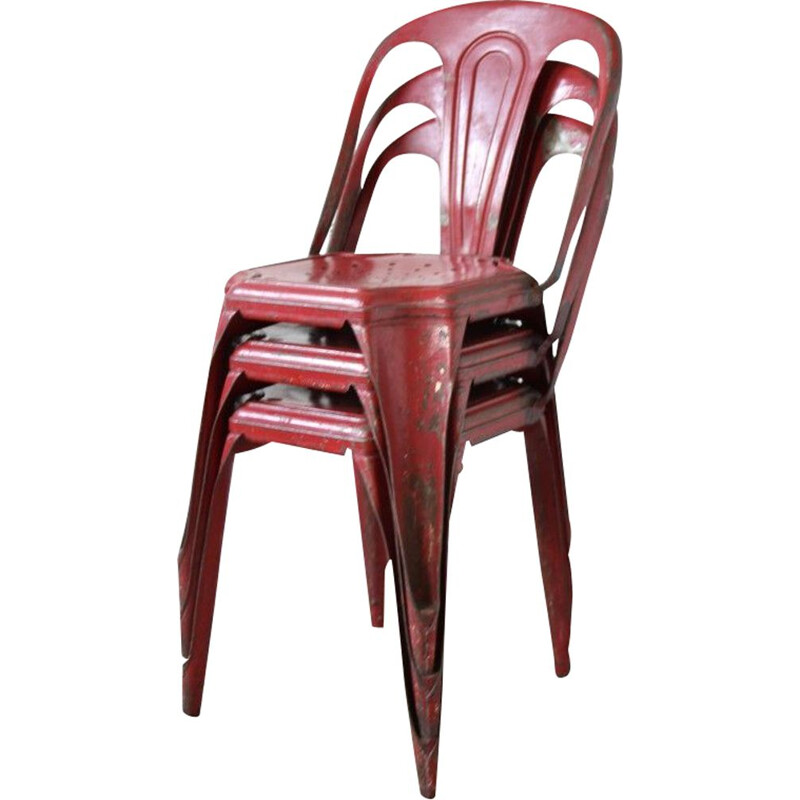 Set of 3 industrial chairs in red metal 1950