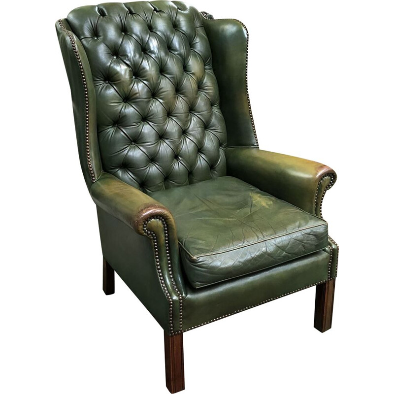 Vintage Chesterfield armchair in green leather and wood 1970