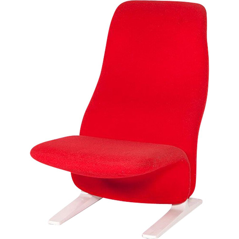 Vintage Concorde armchair for Artifort in red wool and steel 1960
