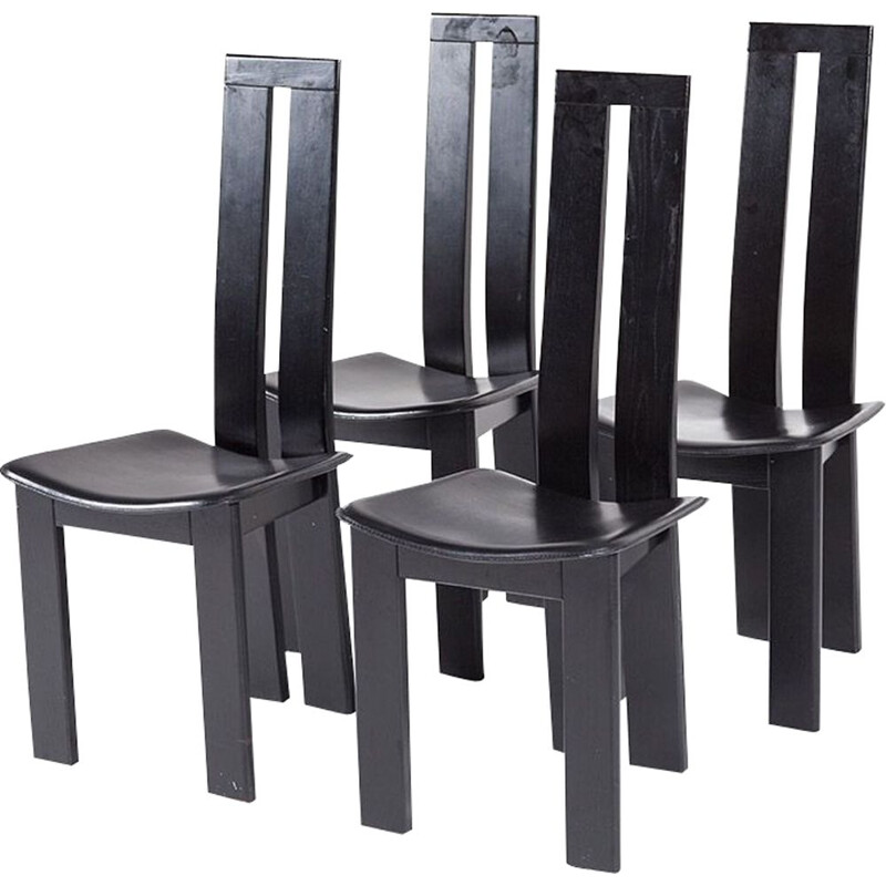 4 black vintage dining chairs by Pietro Costantini, 1970