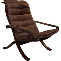 Brown leather and wooden armchair, Ingmar RELLING - 1960s
