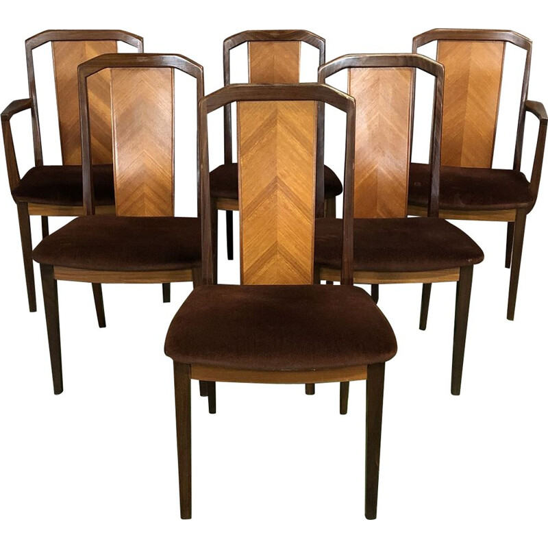 Vintage set of 4 dining chairs and 2 armchairs in teak  by G Plan
