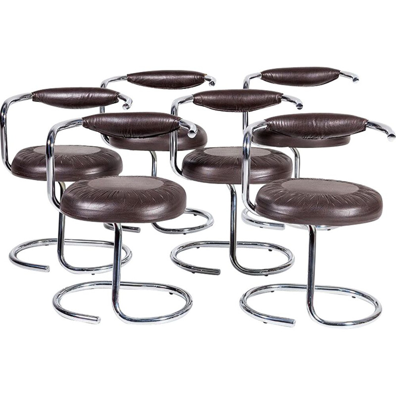 """Vintage set of 6 """"Cobra""""  dining chairs by Giotto Stoppino for Kartell,1970"""
