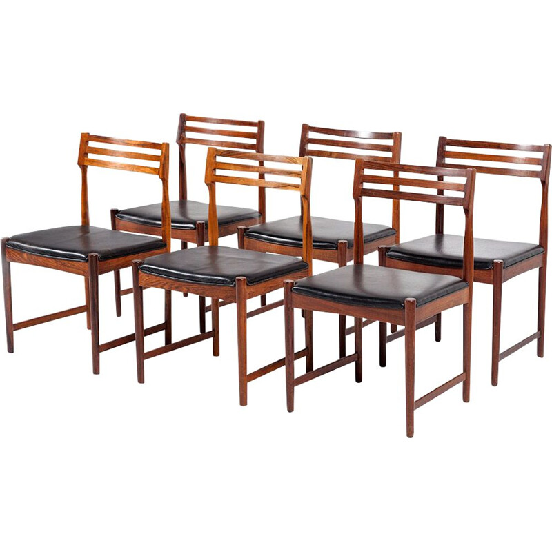 Vintage set of 6 dining chairs in rosewood & leather  by Severin Hansen for Bovenkamp,1960
