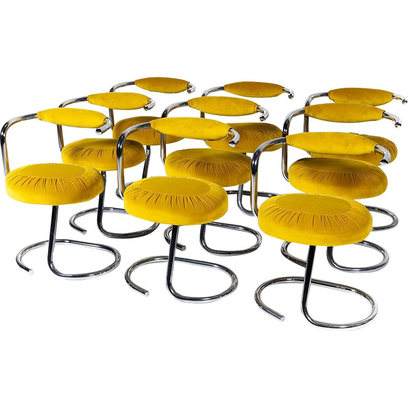 "Vintage set of 6 yellow dining chairs ""Cobra"" by Giotto Stoppino for Kartell,1970"