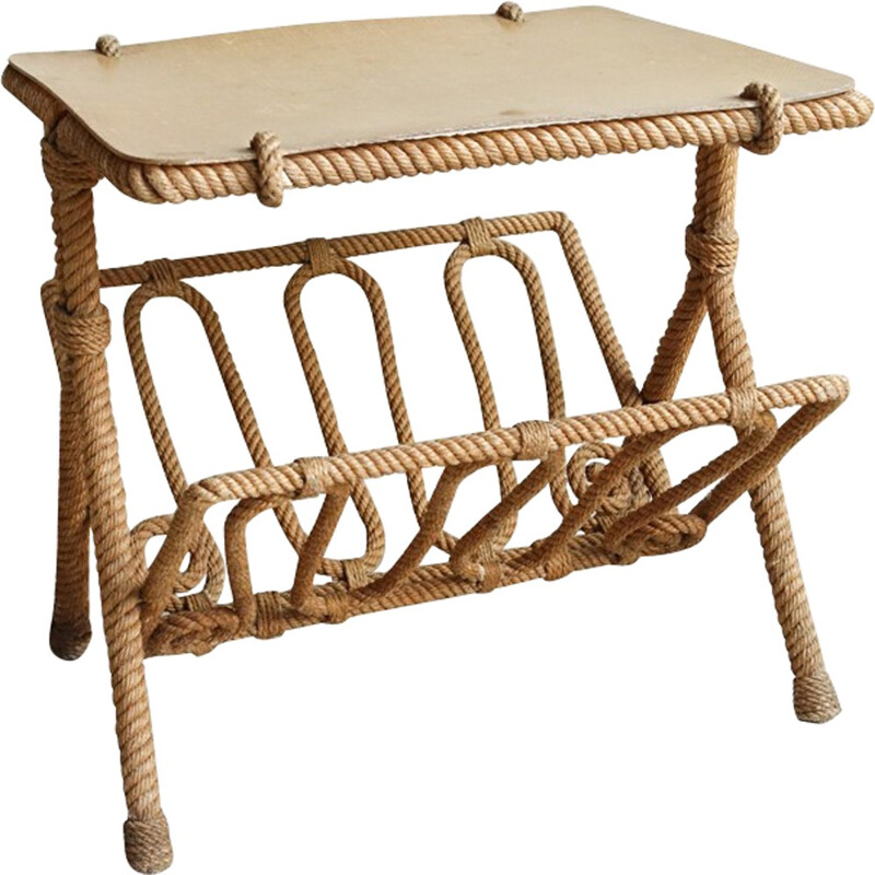Side table in rope and wood, Adrien AUDOUX and Frida MINET - 1950s