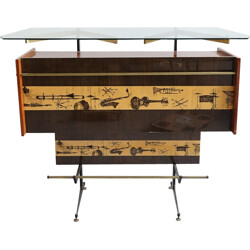 Vintage bar in glass, metal and brass - 1970s