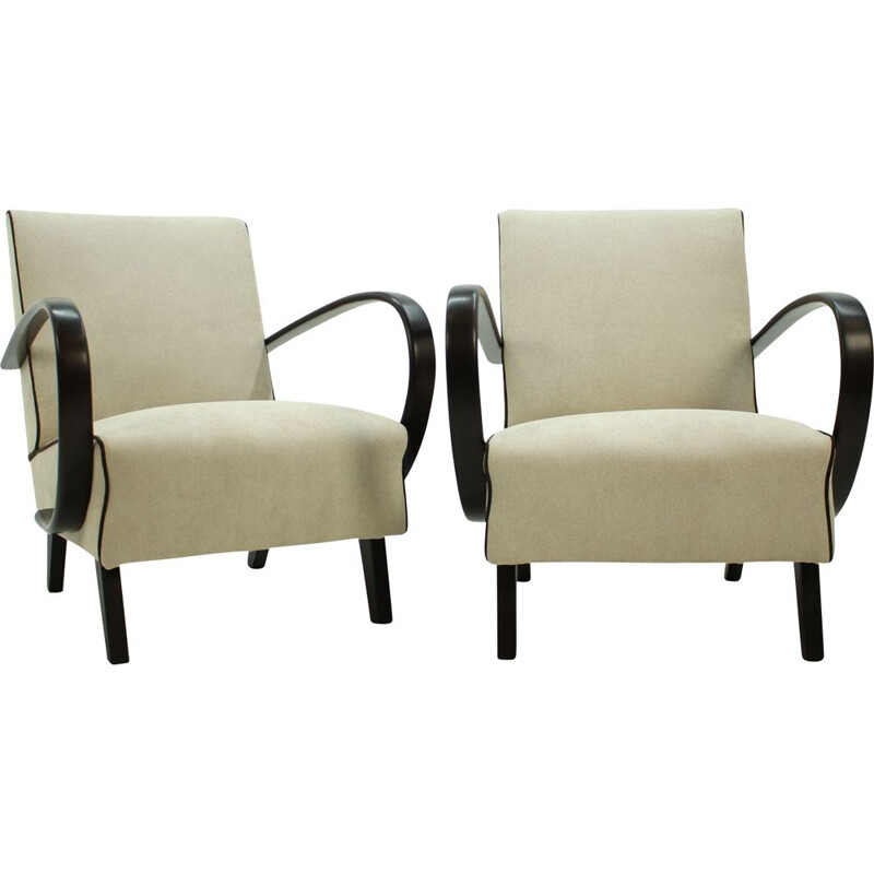 Set of two vintage armchairs in oak by Jindřich Halabala, Czechoslovakia 1950s