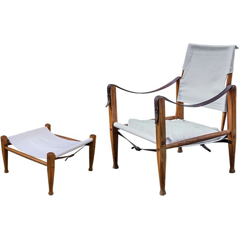 Vintage chair Safari with footstool by Kaare Klint