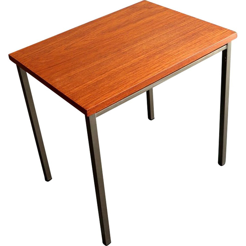 Vintage teak top in a grey lacquered metal base side table
