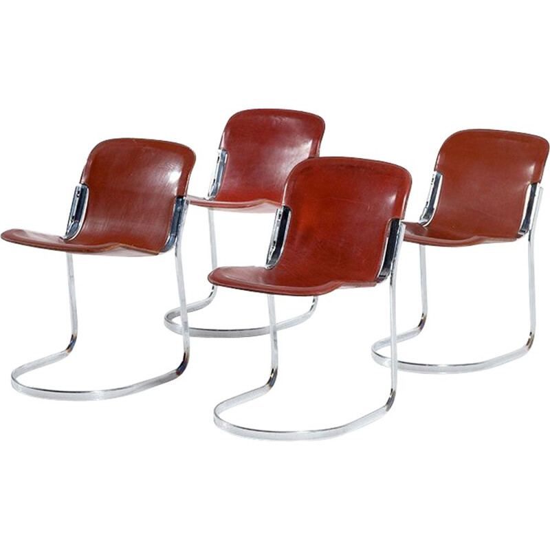 Set of 4 vintage dining chairs by Willy Rizzo for Cidue