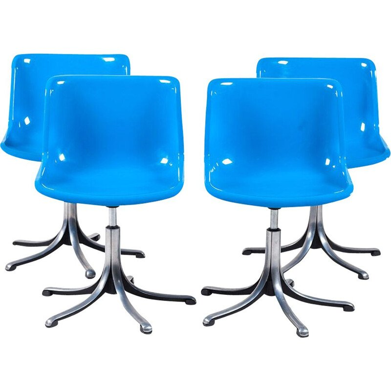 Set of 4 vintage blue modus chairs by Osvaldo Borsani for Tecno