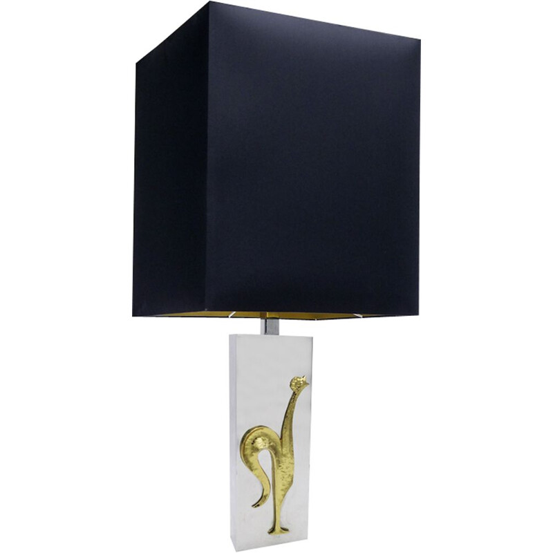 Vintage Table Lamp in brass chromed 1970s