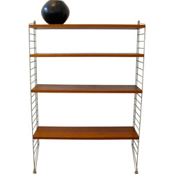 Modular shelving system in teak and steel, Nisse STRINNING - 1950s