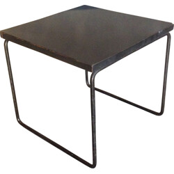 Black side table in melamine and metal, Pierre GUARICHE - 1950s