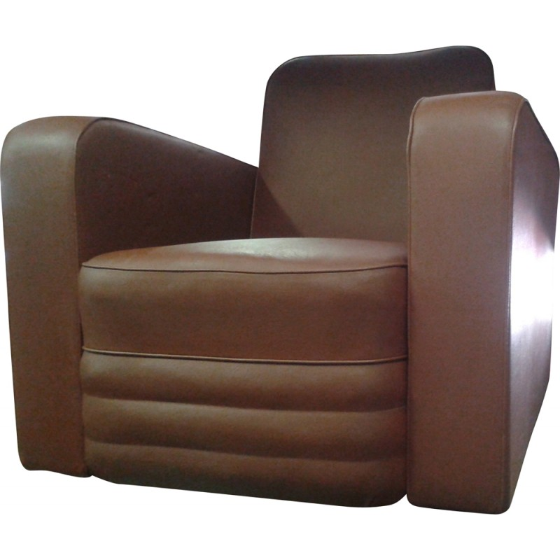 Pair of Aiborne armchairs in brown leatherette, Marcel GASCOIN - 1950s