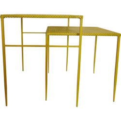 Pair of lacquered metal side tables, Mathieu MATEGOT - 1950s