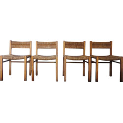 Set of 4 pine and straw chairs, Pierre GAUTIER-DELAYE - 1954