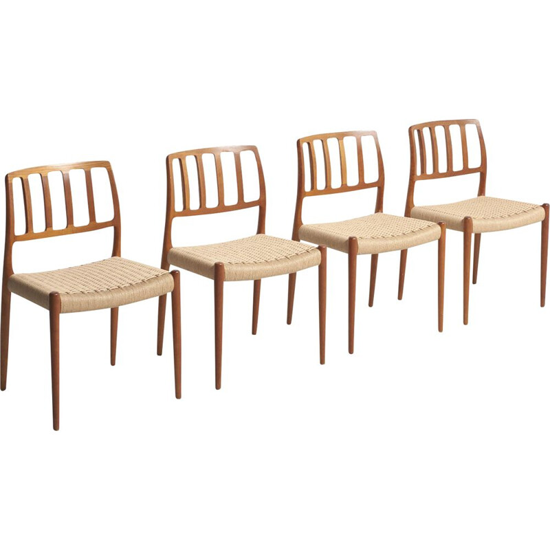 Vintage set of 4 dining chairs in teak by Niels O. Moller,1970