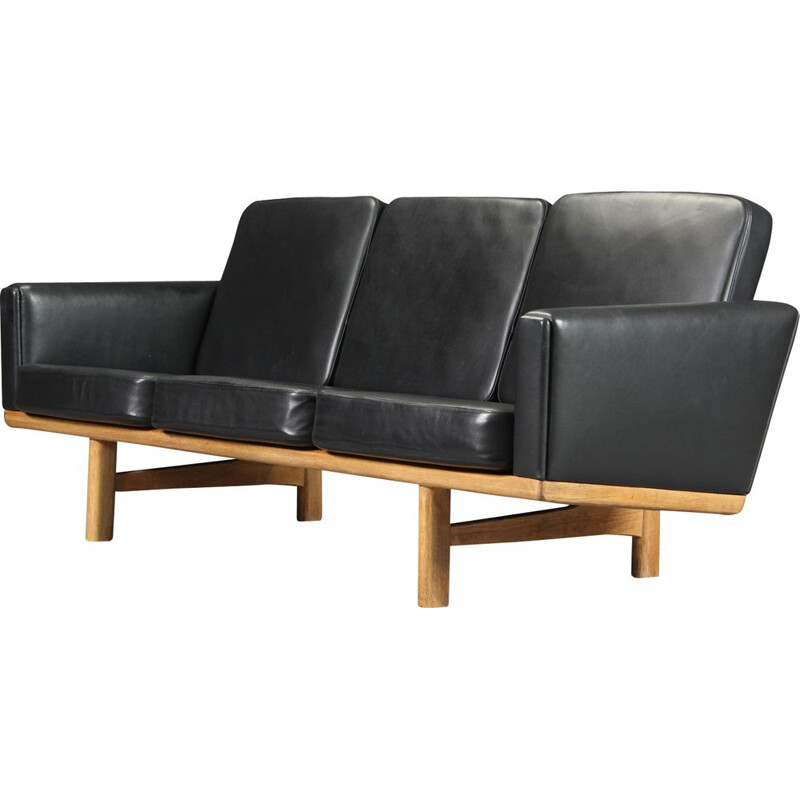 Vintage H.J. Wegner sofa 3-seater in leather and oak,1960