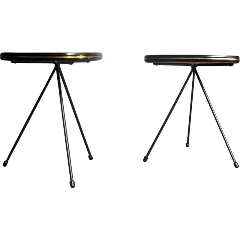 Set of 2 vintage side tables organic shape