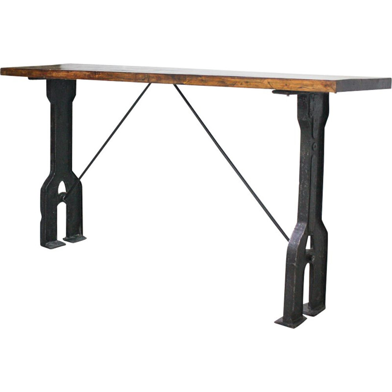 Vintage Console Table Industrial, English 1940s