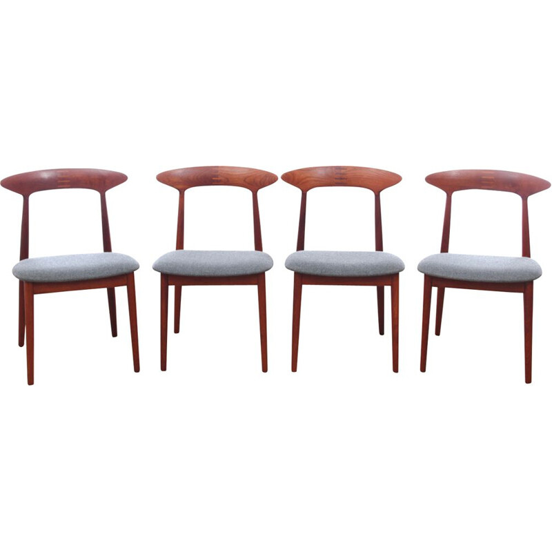 Set of 4 Scandinavian vintage teak chairs by Kurt Østervig