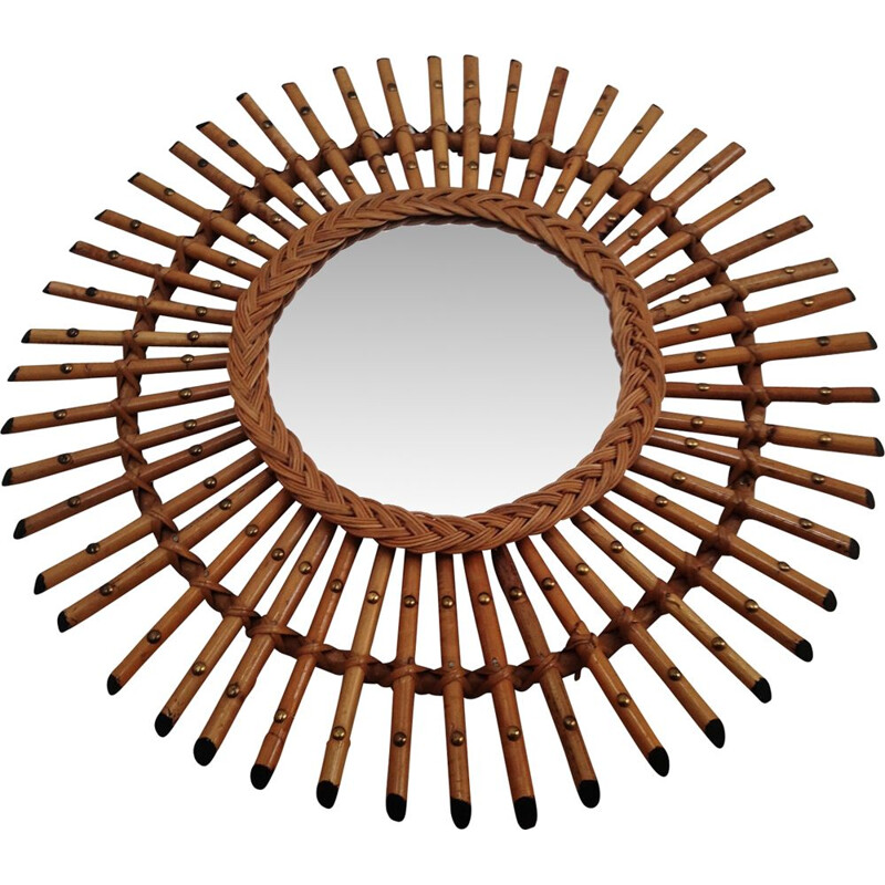 Vintage Sun mirror in rattan and bamboo