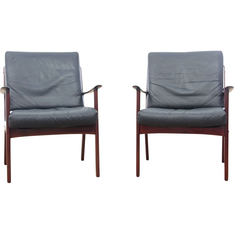 Pair of vintage armchairs Scandinavian  mahogany model PJ 112