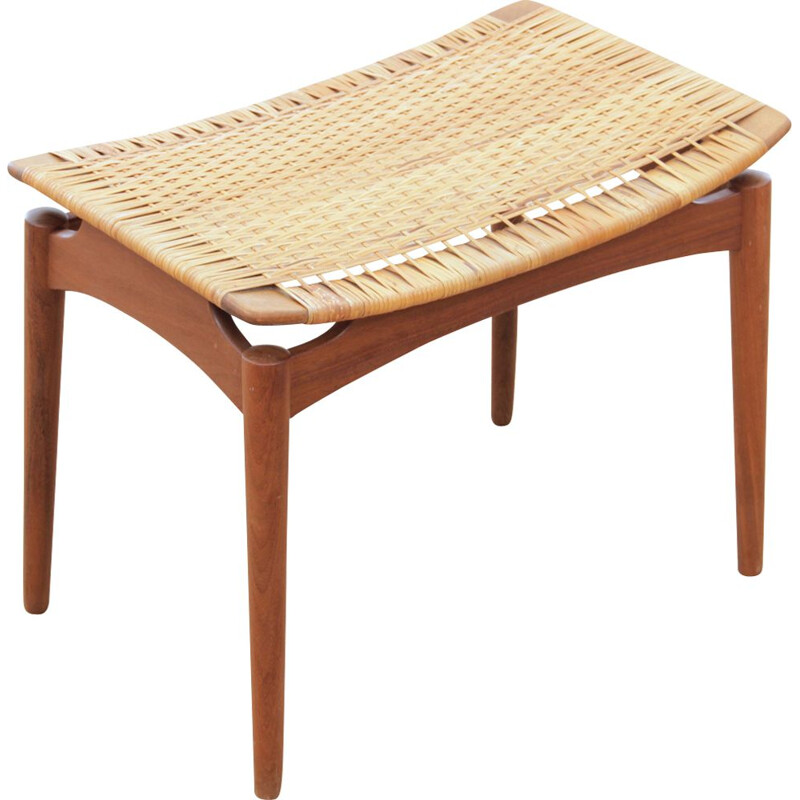 Vintage Scandinavian stool in teak and caning